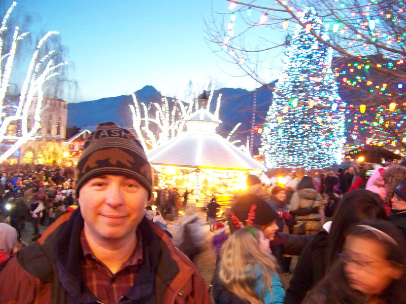 """Take two!  Pat's a little more in focus in this low-light shot, which was taken as the crowd was dispersing after the Christmas lighting ceremony. [Leavenworth, WA - December 2013 - <b><a target=""""_new"""" href=""""http://youtu.be/NqCqDCOY_tc"""">Watch my video here</a></b>]"""