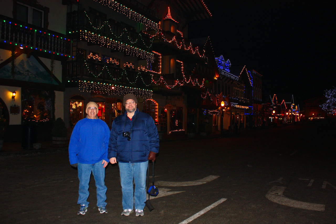 """Dave and Jon with the Christmas lights on Front Street. Photo by Pat. [Leavenworth, WA - December 2013 - <b><a target=""""_new"""" href=""""http://youtu.be/NqCqDCOY_tc"""">Watch my video here</a></b>]"""