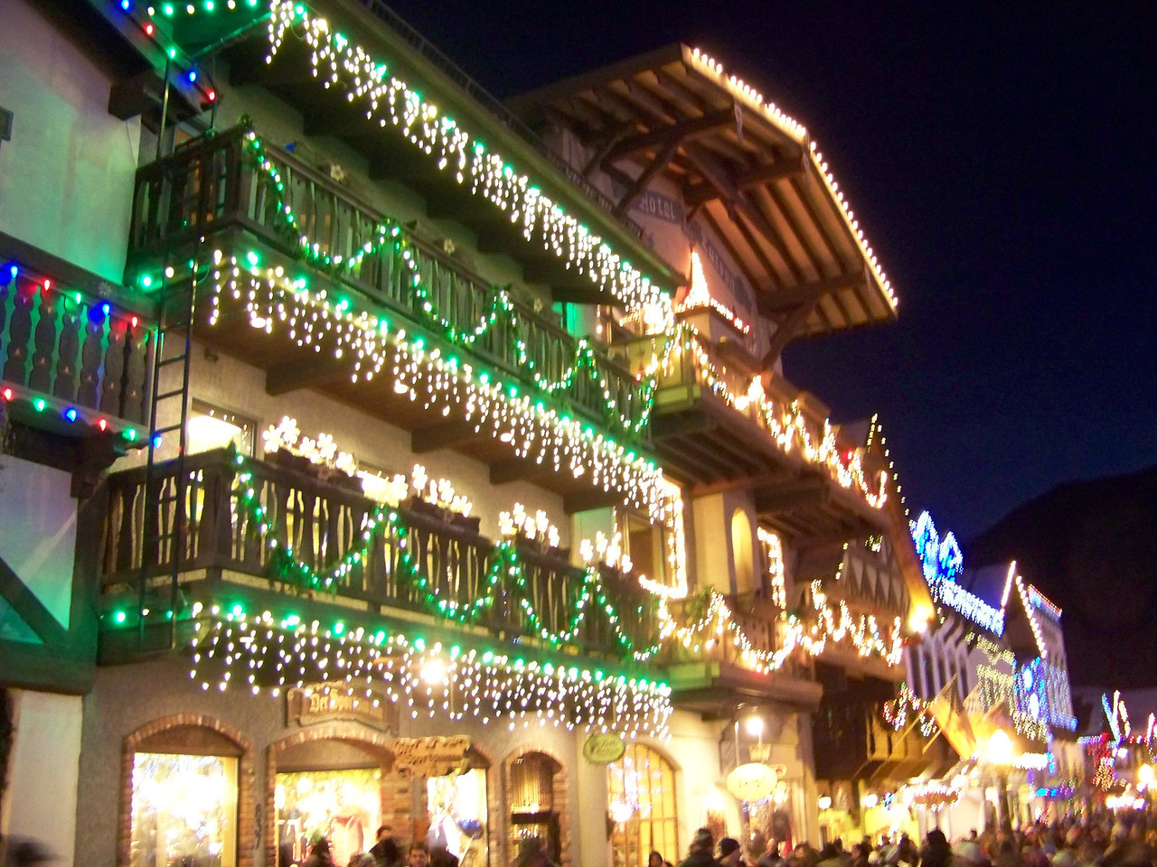 """Christmas lights on the shops lining Front Street. [Leavenworth, WA - December 2013 - <b><a target=""""_new"""" href=""""http://youtu.be/NqCqDCOY_tc"""">Watch my video here</a></b>]"""