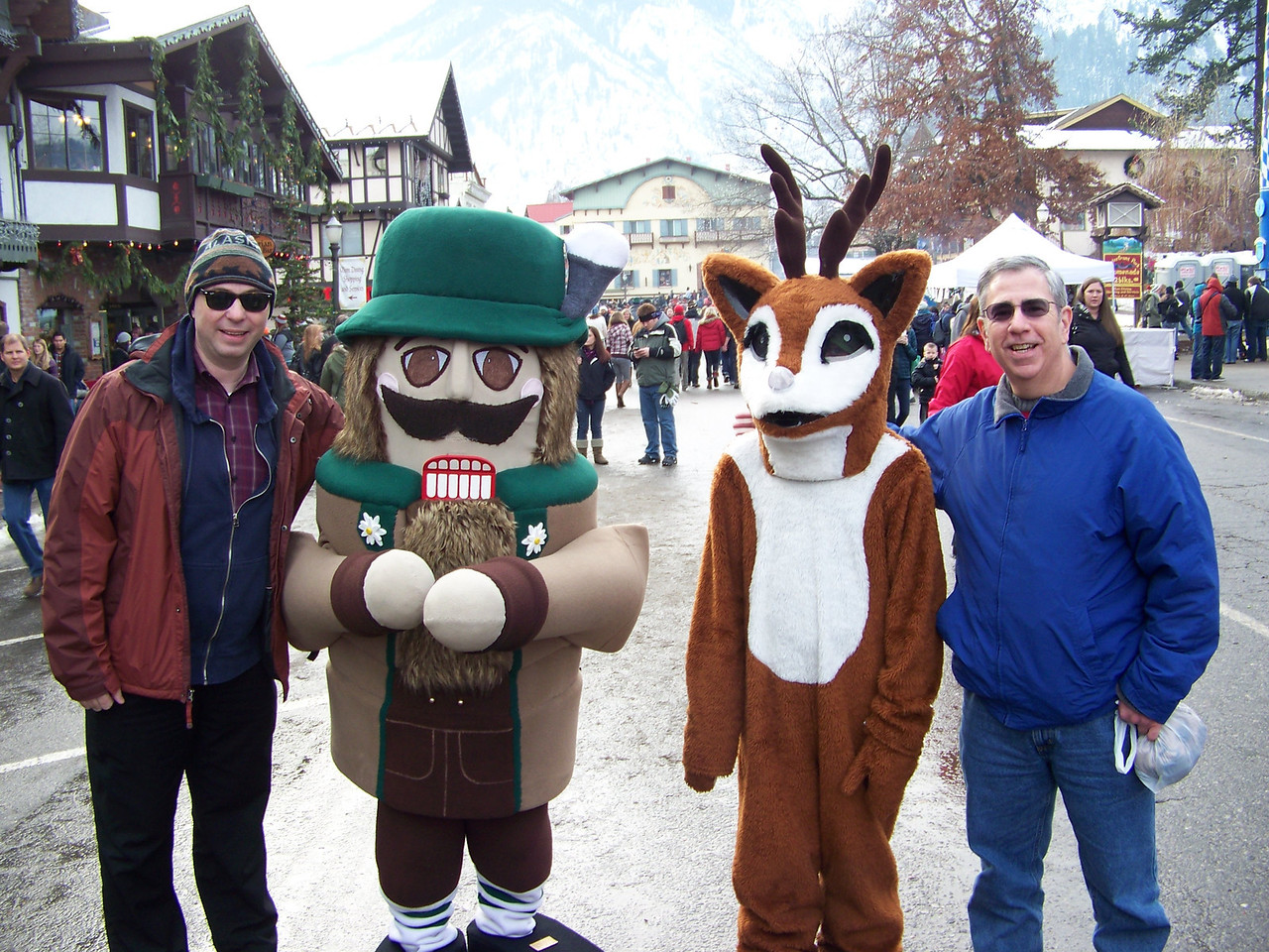 """Left to right are Pat, Woody Goomsba (the nutcracker mascot used in the town's advertising), Rudolph the Red-Nosed Reindeer, and Dave. [Leavenworth, WA - December 2013 - <b><a target=""""_new"""" href=""""http://youtu.be/NqCqDCOY_tc"""">Watch my video here</a></b>]"""