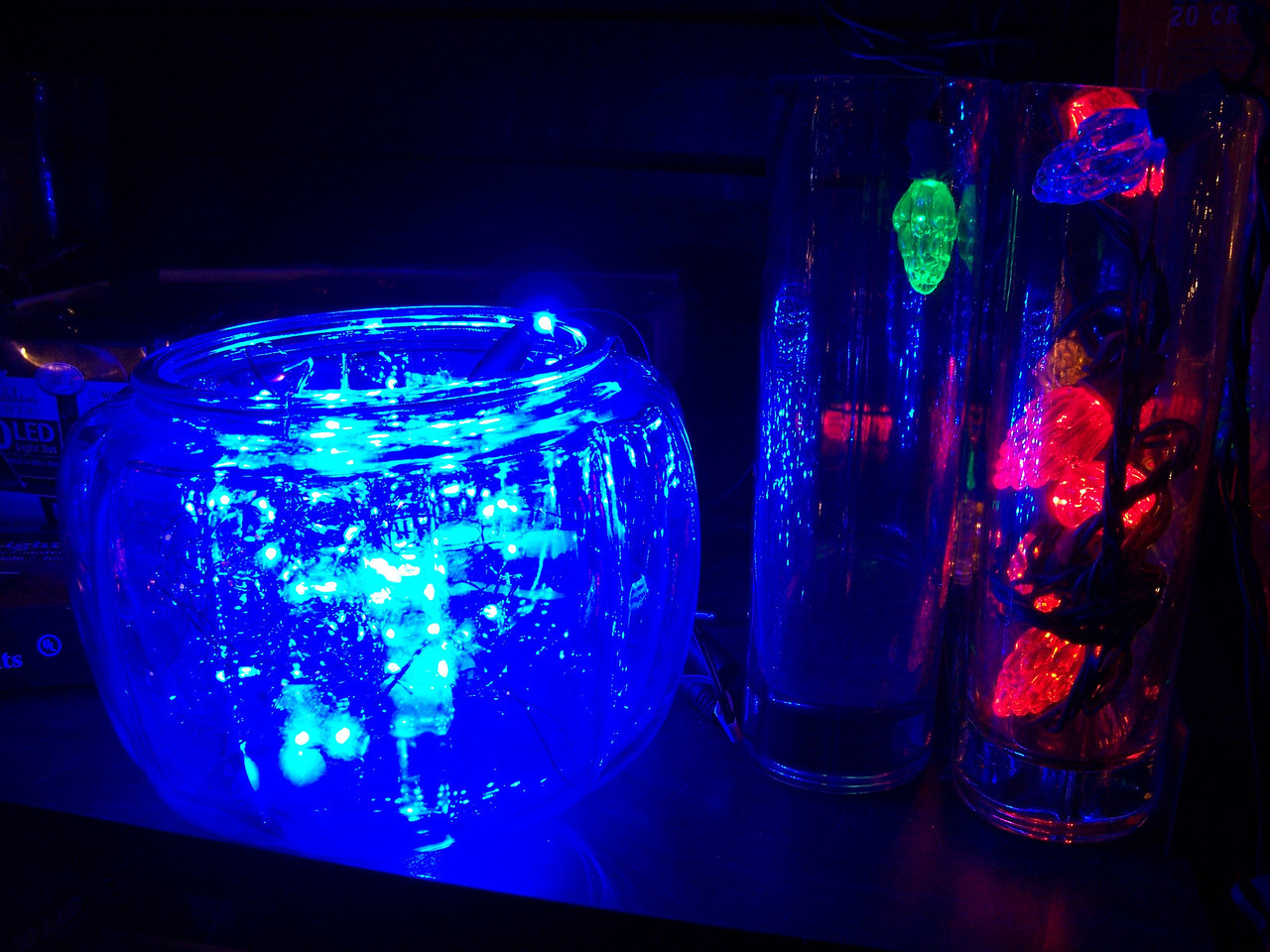 """Christmas lights displayed in vases and other glass containers at the Kris Kringl shop. [Leavenworth, WA - December 2013 - <b><a target=""""_new"""" href=""""http://youtu.be/NqCqDCOY_tc"""">Watch my video here</a></b>]"""