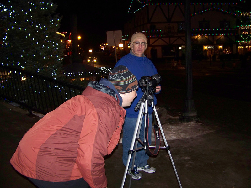"""Pat sets up his tripod to get the perfect shot of the Christmas lights. [Leavenworth, WA - December 2013 - <b><a target=""""_new"""" href=""""http://youtu.be/NqCqDCOY_tc"""">Watch my video here</a></b>]"""