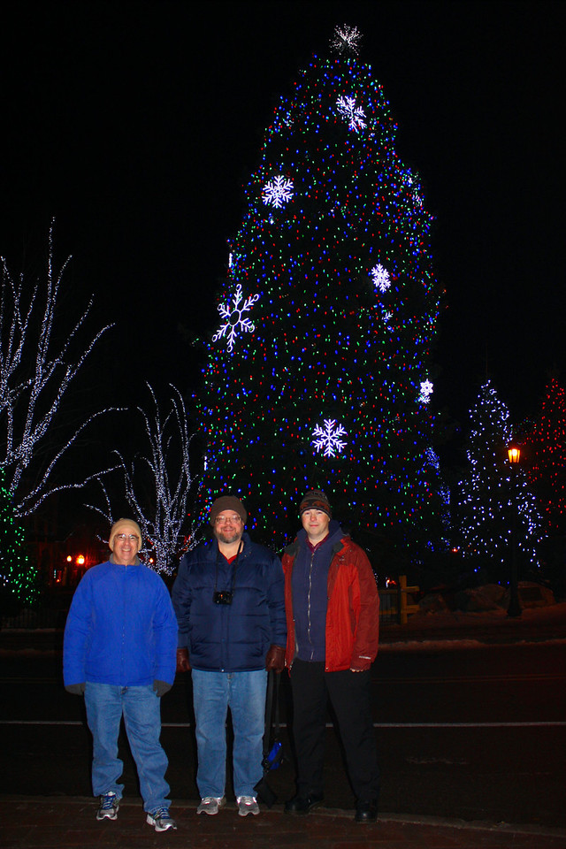 """Dave, Jon, and Pat--bundled up against the cold, and basking in the Christmas lights. Photo by Pat. [Leavenworth, WA - December 2013 - <b><a target=""""_new"""" href=""""http://youtu.be/NqCqDCOY_tc"""">Watch my video here</a></b>]"""