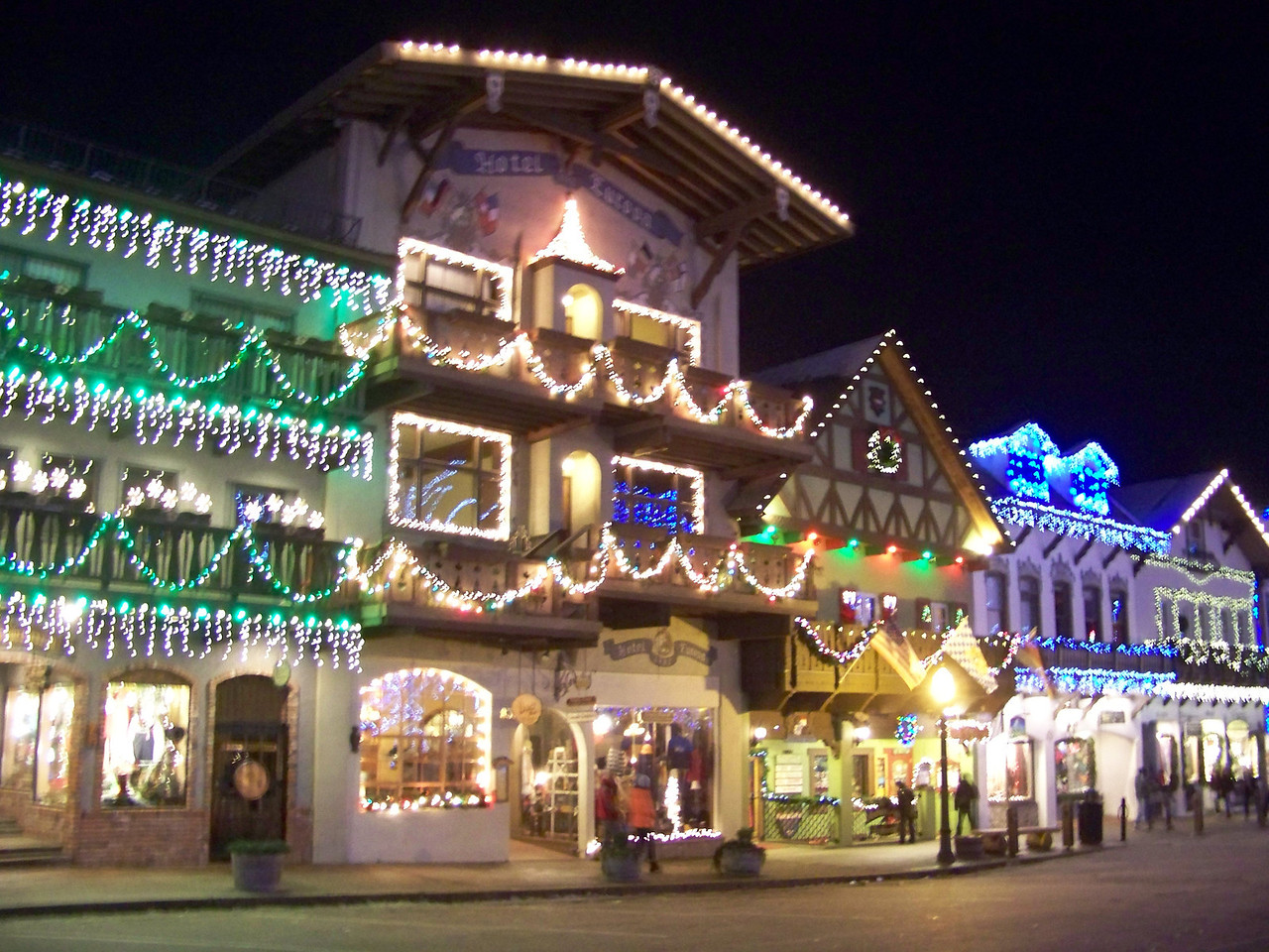 """Christmas lights on the shops along Front Street. [Leavenworth, WA - December 2013 - <b><a target=""""_new"""" href=""""http://youtu.be/NqCqDCOY_tc"""">Watch my video here</a></b>]"""