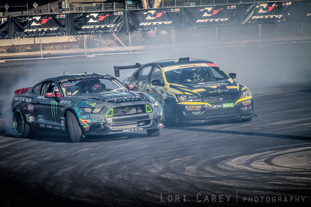 Vaughn Gitten Jr and Tanner Faust,<br /> Drifting Demo at Nitto Tire's Auto Enthusiast Day, presented by DrivingLine,<br /> Angel Stadium, CA 1 August 2015