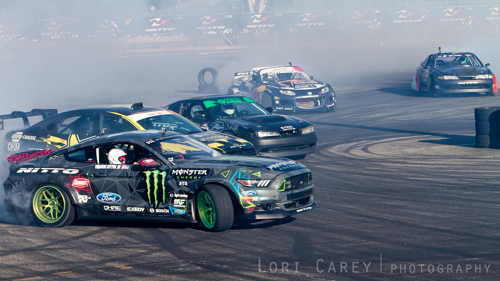 Vaughn Gitten Jr., Tanner Faust, Odi Bakchis, Mad Mike Whiddett, and Matt Powers,<br /> Drifting Demo at Nitto Tire's Auto Enthusiast Day, presented by DrivingLine,<br /> Angel Stadium, CA 1 August 2015