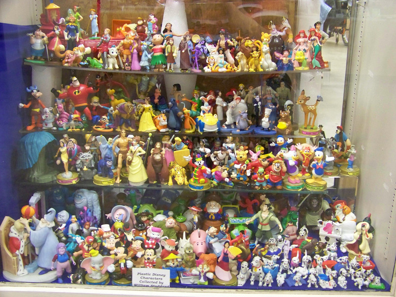 A collection of Disney plastic figures on display in Hobby Hall.<br /> [Puyallup, WA Fair 2009]