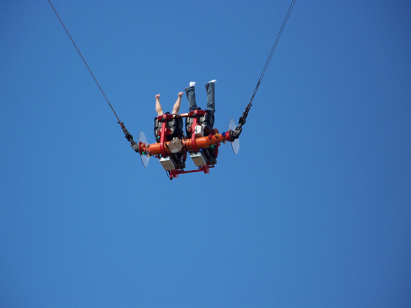 Bungy slingshot ride.  Why would anyone pay to do that to themselves?!?<br /> [Puyallup, WA Fair 2009]