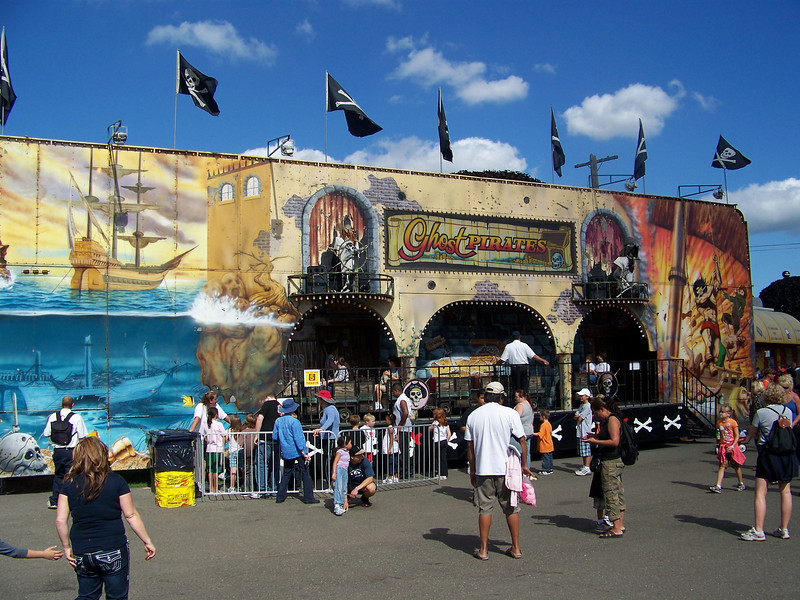 On our previous visit to the fair (2005 or 2006), we actually went on this Ghost Pirates ride.  It was the lamest thing you can possibly imagine--basically 45 seconds in the dark.<br /> [Puyallup, WA Fair 2009]
