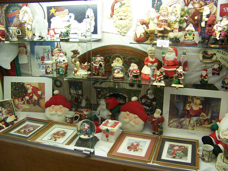 Santa Claus collection on display in Hobby Hall.<br /> [Puyallup, WA Fair 2009]