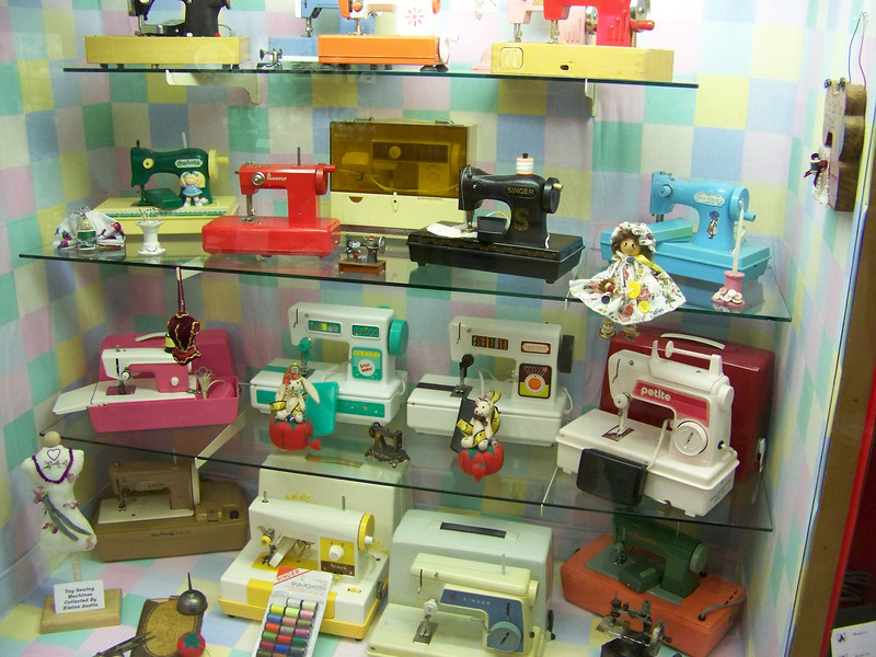 A collection of toy sewing machines on display in Hobby Hall.<br /> [Puyallup, WA Fair 2009]