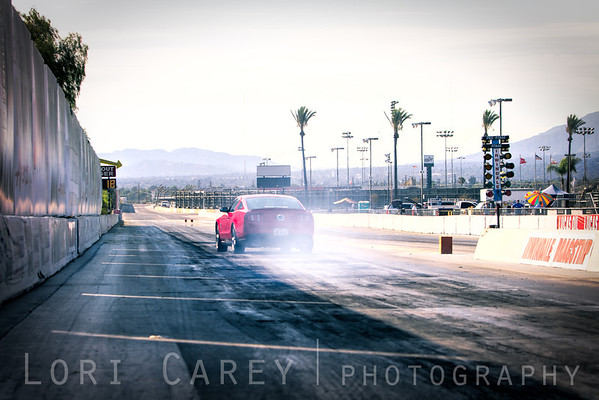 John McCabe starts to fishtail on the Irwindale Dragstrip at the press launch for Cie Studio's Racing Rivals iOS game, 29 August 2013