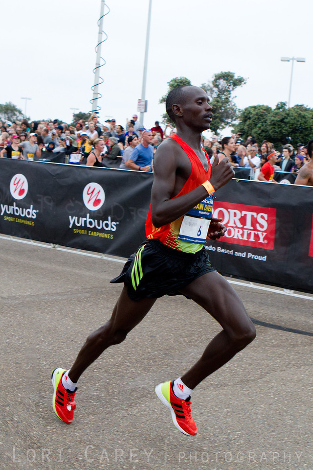 Kenyan Nixon Machichim racing to the finish line to take first place in the San Diego Rock and Roll marathon on June 3, 2012 with an amazing time of 2:10:03