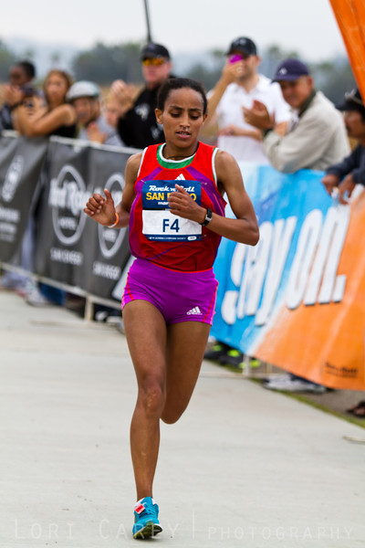 Meseret Legesse comes down the home stretch to finish 2nd in the Women's Elite division of the San Diego Rock and Roll Marathon on June 3, 2012 with a time of 2:28:00