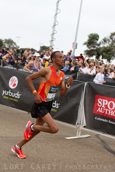 Desta Gebrehiwot on his way to a 2nd place finish in the San Diego Rock and Roll Marathon on June 3, 2012 with a time of 2:10:13, just ten seconds behind winner Nixon Machichim.
