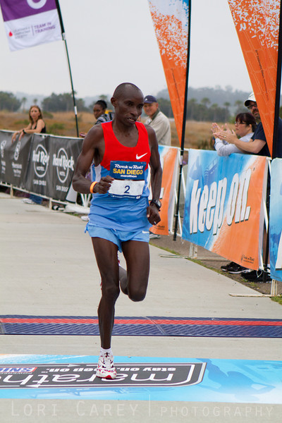 Patrick Ivuti heads toward a 5th place finish in the San Diego Rock and Roll Marathon on June 3, 2012