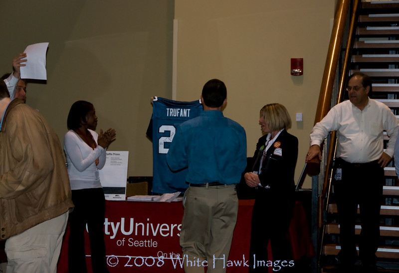 City University of Seattle and Seattle Seahawks Monday Night Football Watch Party - Ken won the Marcus Trufant Jersey