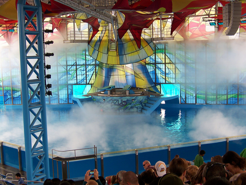 Billowing mist signals the start of the show.<br /> [SeaWorld San Antonio - Azul show]