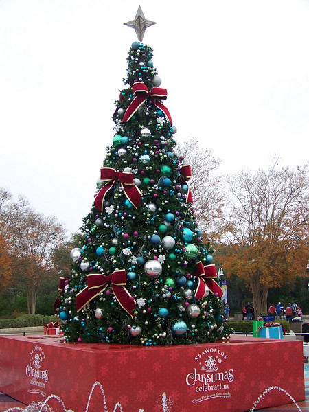 Directly inside the entry gates was the park's Christmas tree.<br /> [SeaWorld San Antonio]