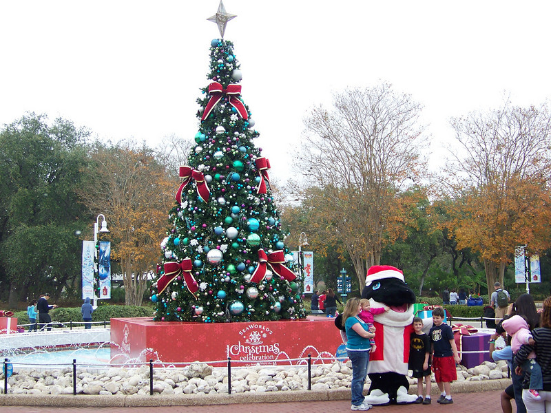 Looks like the Christmas tree is set up on what's normally a fountain.  And who's greeting guests by the tree?<br /> [SeaWorld San Antonio]