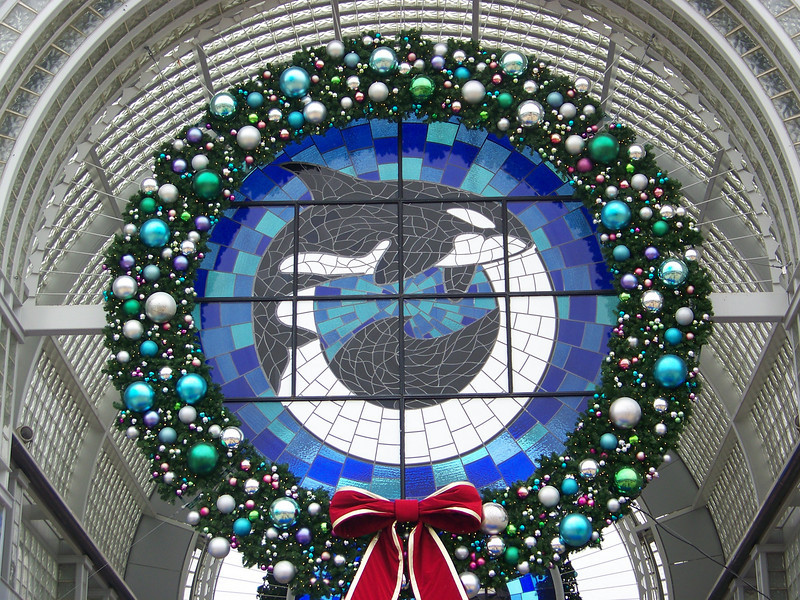 The stained-glass orcas are on the entry gates year round, but not the surrounding Christmas wreath.<br /> [SeaWorld San Antonio]