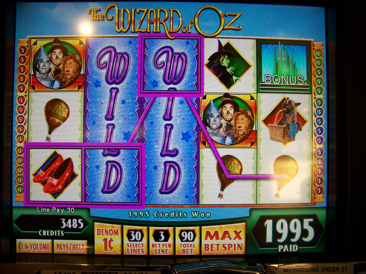 The screen of the Wizard of Oz machine.  I love this game!<br /> [Seven Feathers Resort in Canyonville, OR]
