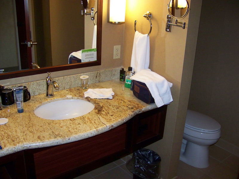 Our hotel room's bathroom was nice and large.<br /> [Seven Feathers Resort in Canyonville, OR]