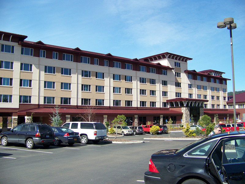 The hotel was two wings.  This is the newer wing, and it's where we stayed.<br /> [Seven Feathers Resort in Canyonville, OR]