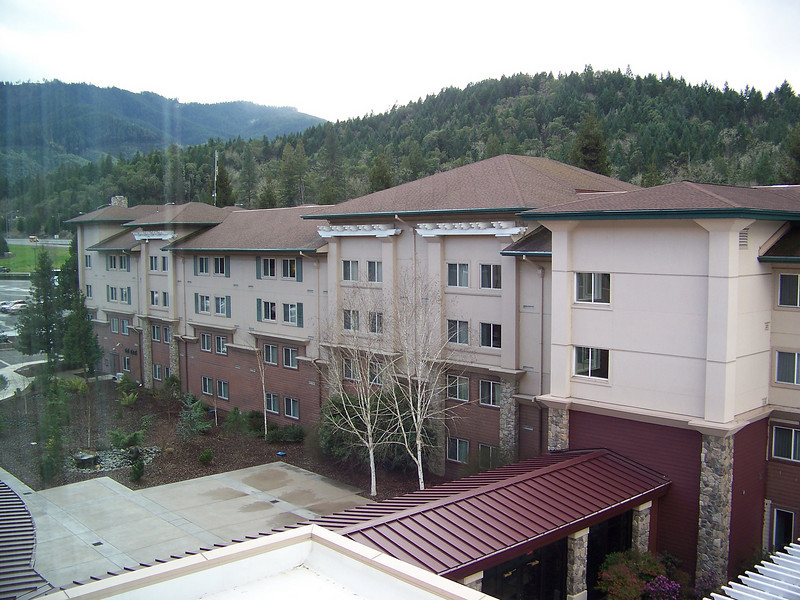 Our hotel room looked out toward their older hotel wing.<br /> [Seven Feathers Resort in Canyonville, OR]