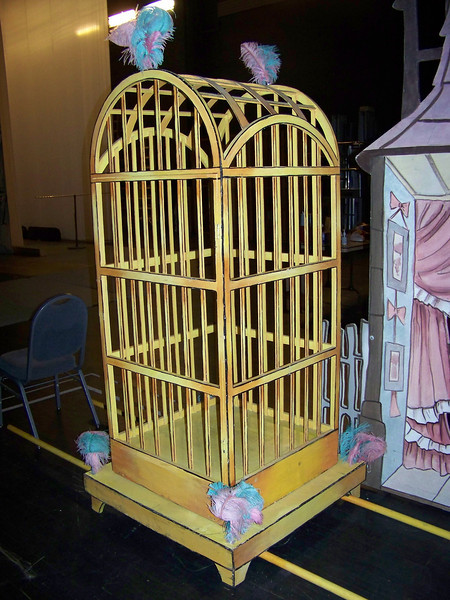In this production, the Arabian dance (I think that's the one) is performed by a dancer dressed as a bird.  She's carried onstage inside this cage, and then emerges for the dance.<br /> [Backstage at Pacific Northwest Ballet's Nutcracker - 2013]