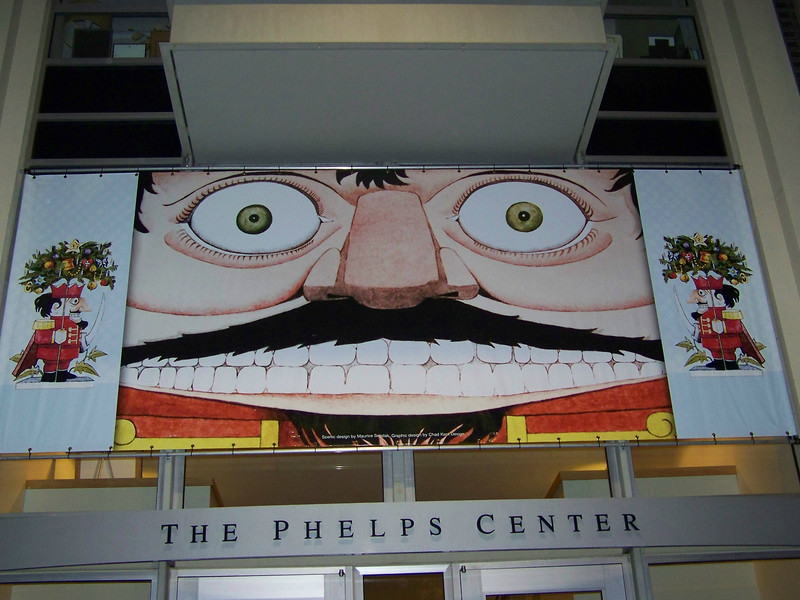 This banner featuring Maurice Sendak artwork was on the exterior of the theater complex.<br /> Getting to see the show from backstage was amazing!  Thanks, Pat!<br /> [Backstage at Pacific Northwest Ballet's Nutcracker - 2013]