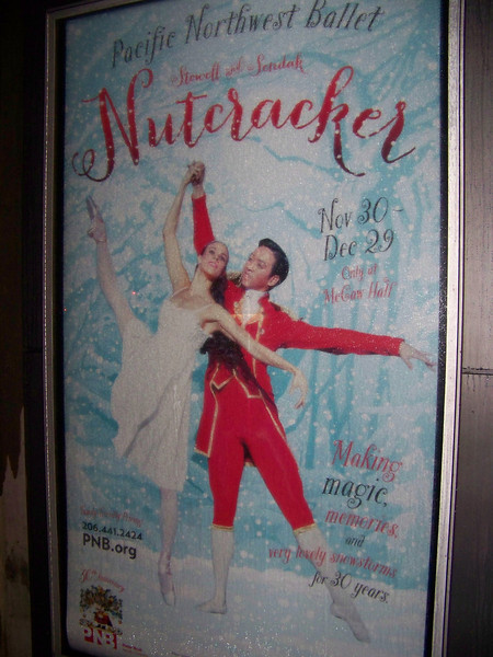 "Poster for Pacific Northwest Ballet's 2013 production of The Nutcracker.  This renowned production has been a Christmas staple in Seattle since 1983.  It features sets and costumes designed by author and illustrator Maurice Sendak (author of ""Where the Wild Things Are"")."