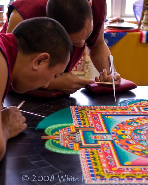 Tibetan Monks create sacred sand mandala, at Bastyr University