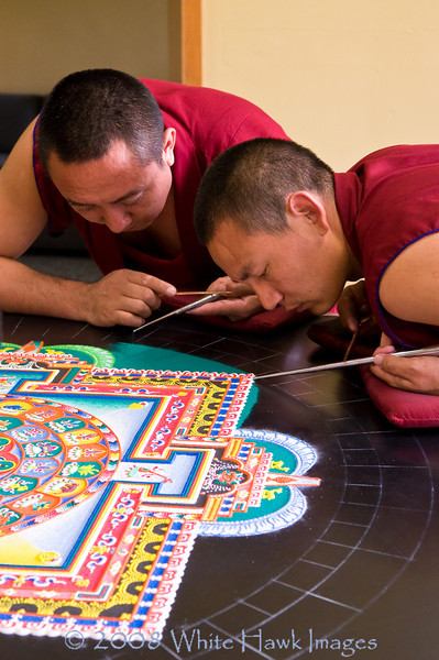 Tibetan Monks create sacred sand mandala, at Bastyr University