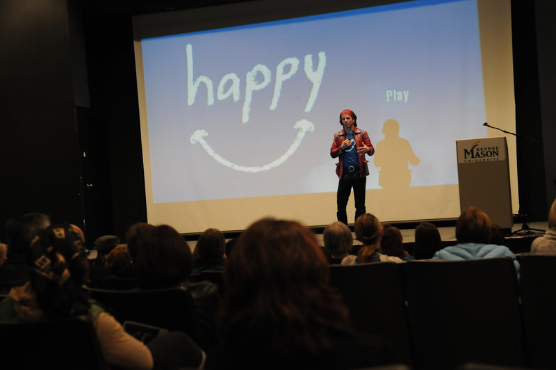 Academy Award Nominated Director Roko Belic speaks to students at the Happy film screening hosted by the Center for Consciousness and Transformation