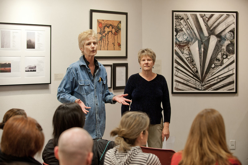 110920507 - Helen Frederick (L), GMU professor at the School of Art, and Susan Tichy, GMU English Department professor  speak at the 2011 Fall for the Book series Call and Response Gallery Panel at the Gallery 123, Fairfax Campus. Photo by Alexis Glenn