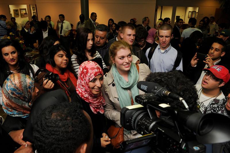 "Mrs. Tawakkol Karaman, winner of 2011 Nobel Peace Prize speaking about the ""Arab Spring-Yemeni focus and the role of Women leadership "" on the Fairfax campus of George Mason University. October 27, 2011"