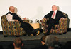 C-Span CEO and Booknotes Host Brian Lamb in conversation with Richard Norton Smith. Photo by Evan Cantwell.