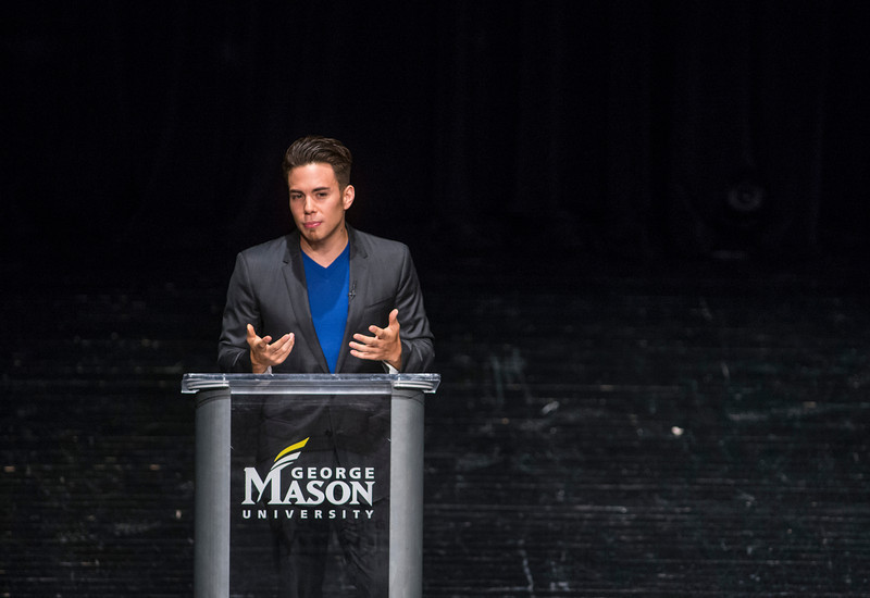 Olympian Apolo Ohno speaks to the Mason community at the Center for the Arts. Photo by Craig Bisacre/Creative Services/George Mason University