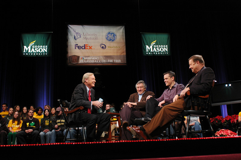 Hard Ball with Chris Mathews, interviewing Robert DeNiro and Matt Damon in the Concert Hall.