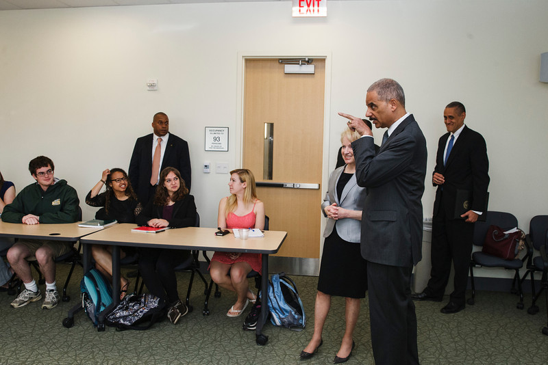 U.S. Attorney General Eric Holder speaks during Laurie Robinson's class in University Hall. Photo by Craig Bisacre/Creative Services/George Mason University