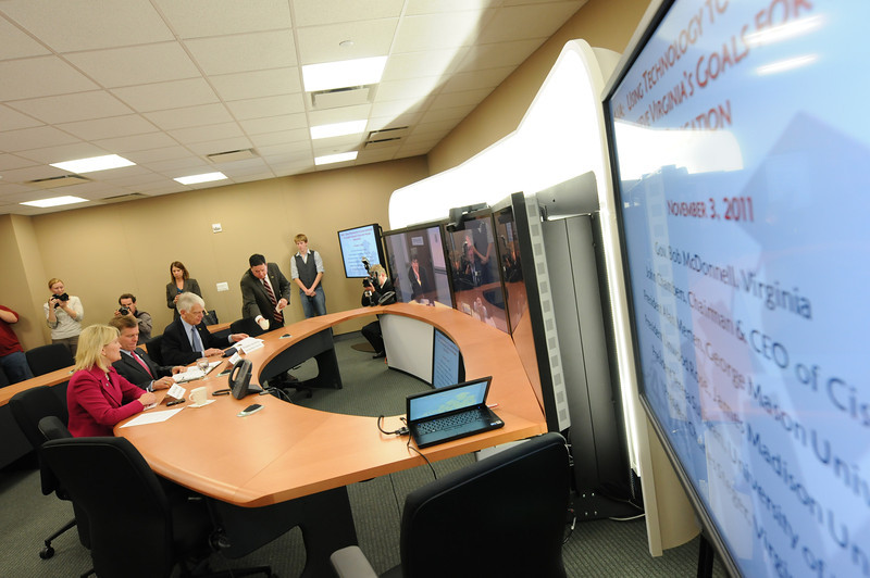 4-VA Cisco TelePresence demonstration with officials from Cisco, James Madison University, University of Virginia, Virginia Tech and George Mason University
