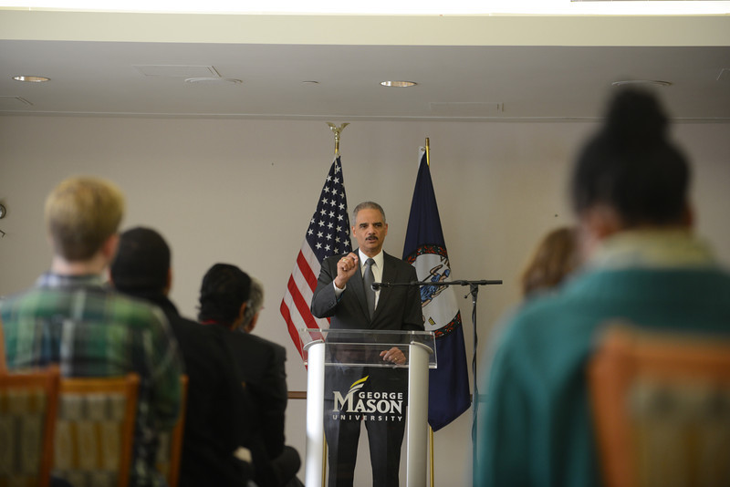 Graduate students from Robinson Professor Laurie Robinson's criminology class attend a lecture on campus with U.S. Attorney General Eric Holder. Photo by Evan Cantwell/Creative Services/George Mason University