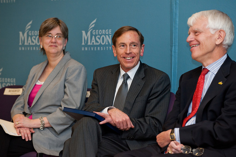 (L to R) Arlington County Board Member Mary Hughes Hynes, Director of the Central Intelligence Agency General David H. Petraeus, and Mason President Dr. Alan Merten attend the dedication of Founders Hall on the Arlington Campus of George Mason University in Arlington, Virginia on March 8, 2012. Photo by Alexis Glenn/Creative Services/George Mason University