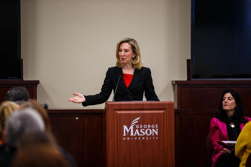 U.S. Rep Barbara Comstock (R) speaks during a summit addressing human trafficking at Merten Hall on George Mason University Fairfax Campus. Photo by Craig Bisacre/Creative Services/George Mason University