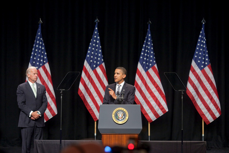 President Barack Obama speaks about the 21st Century GI Bill with Vice President Joe Biden at George Mason University in Virginia, August 3, 2009 (Official White House Photo by Pete Souza)<br /> <br /> This photograph is provided by THE WHITE HOUSE as a courtesy and may be printed by the subject(s) in the photograph for personal use only. The photograph may not be manipulated in any way and may not otherwise be reproduced, disseminated or broadcast, without the written permission of the White House Photo Office. This photograph may not be used in any commercial or political materials, advertisements, emails, products, promotions that in any way suggests approval or endorsement of the President, the First Family, or the White House.