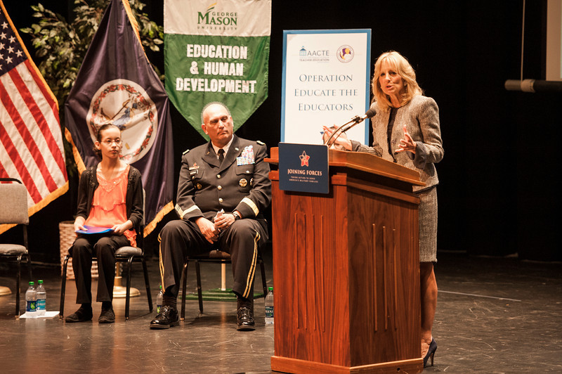 Dr. Jill Biden speaks at an event hosted by the American Association of Colleges for Teacher Education (AACTE) and the Military Child Education Coalition (MCEC). Army Chief of Staff General Raymond Odierno is at center. Photo by Alexis Glenn/Creative Services/George Mason University