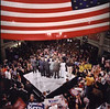 In 2004 during the Democratic Primaries, Senator John Kerry, the eventual Democratic Nominee for President, visited George Mason University and gave a speech on the floor of the Johnson Center.