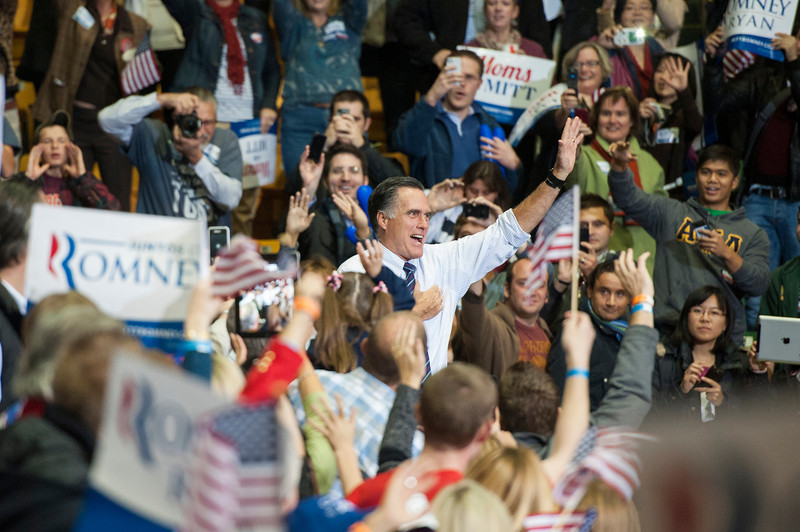 Republican Presidential Candidate Mitt Romney waves after he spoke at a campaign rally at the Patriot Center at Fairfax campus. Photo by Alexis Glenn/Creative Services/George Mason University