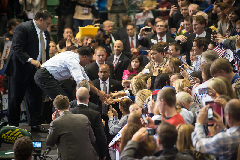 Republican Presidential Candidate Mitt Romney shakes supporters hands at a campaign rally in Fairfax, VA at George Mason University. Photo by Evan Cantwell/George Mason University